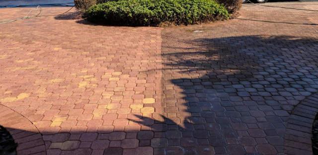 Brick driveway pavers pressure cleaned