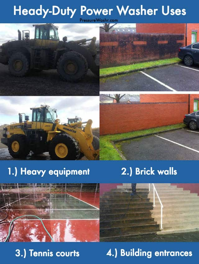 Heavy duty pressure washer uses