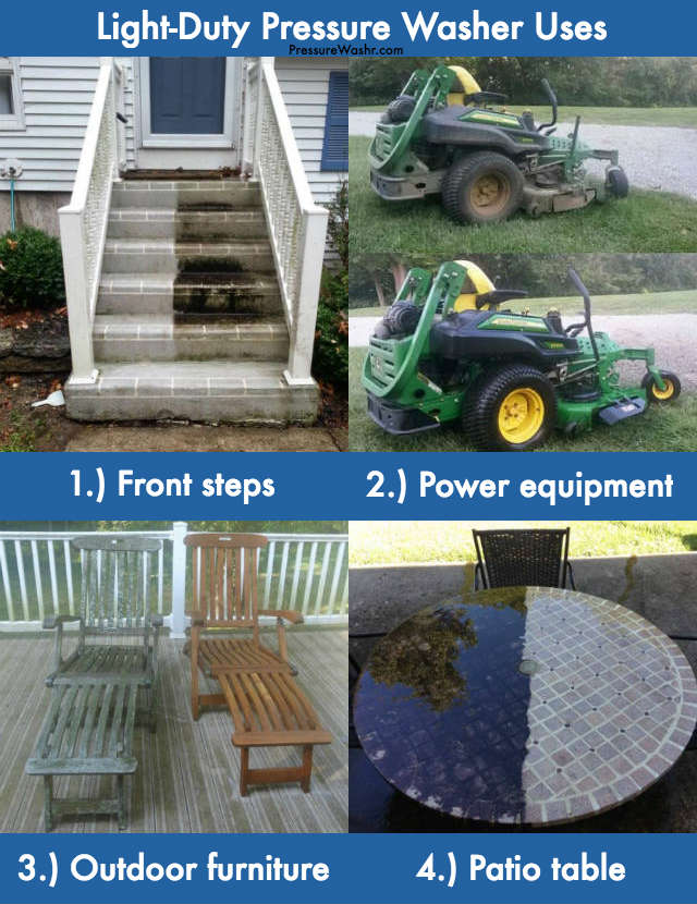Light duty pressure washer examples uses