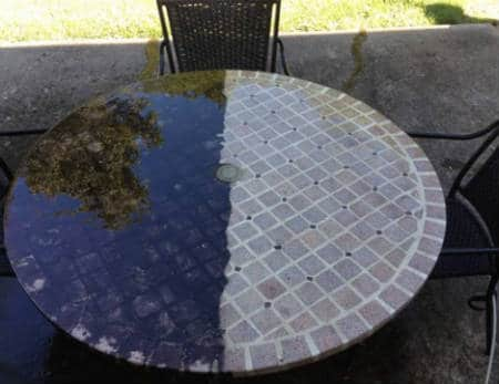 Patio table pressure washing