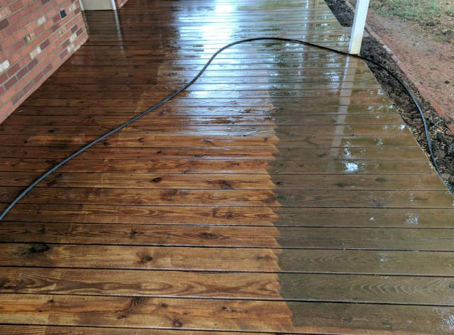 Pressure washing wood decks results 2