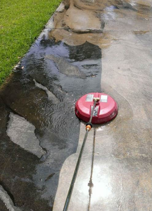 Surface cleaning concrete driveway