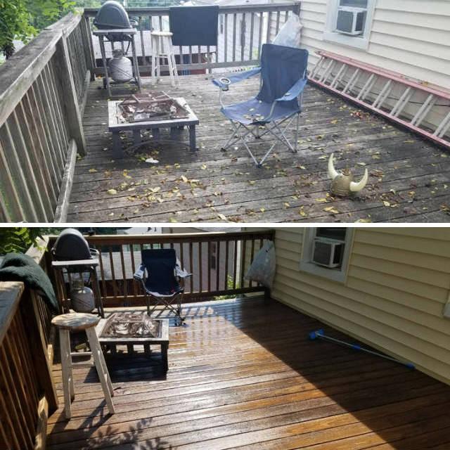 Wood deck pressure washing results 1