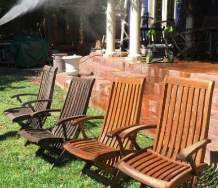 Wood patio chair pressure washing