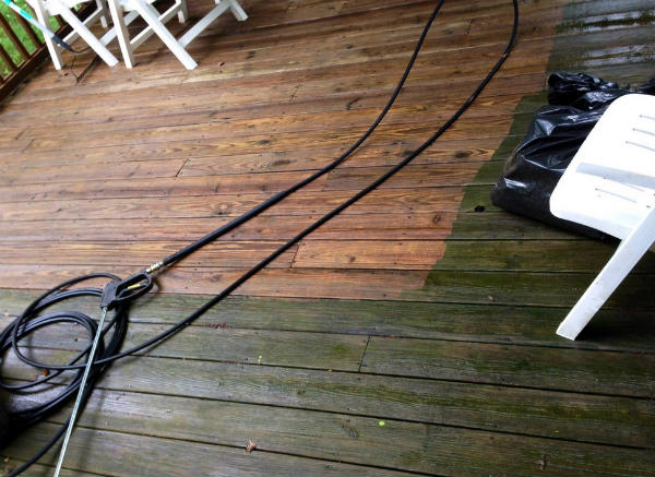 Pressure Washer Uses Wood Deck