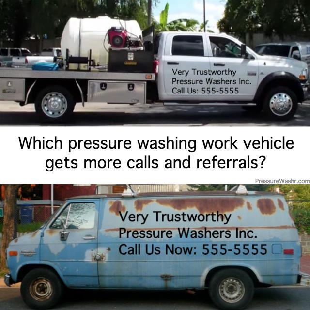 Pressure washing business vehicles comparison
