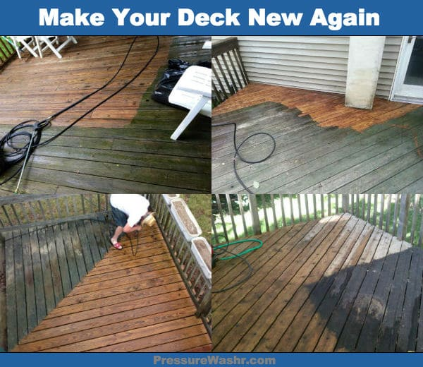 Spring Cleaning Wood Deck With Pressure Washer