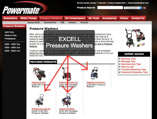 Excell Pressure Washers on Powermate Website