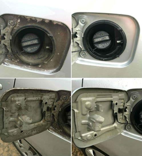 Pressure washing car gas cap clean