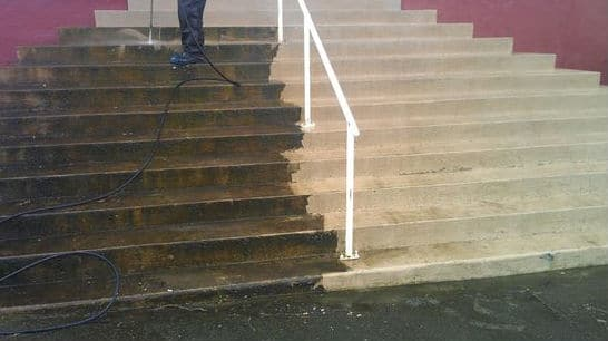 Pressure cleaning concrete steps