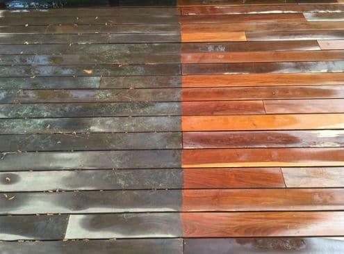 Power washing wood deck
