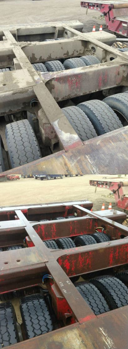 Pressure cleaning semi truck trailer clean