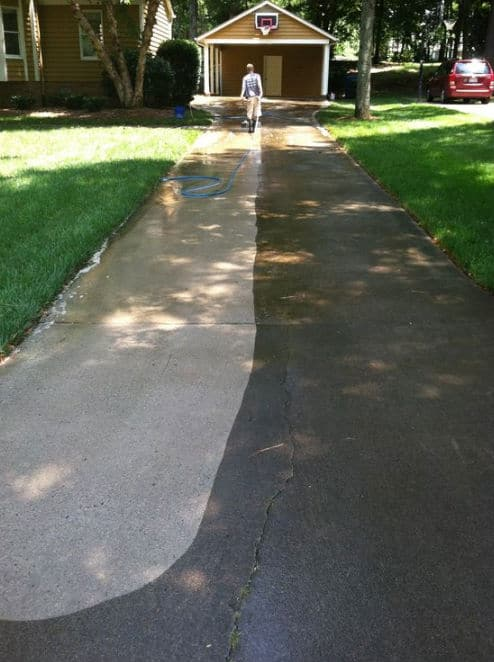Pressure cleaning a long driveway