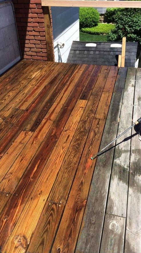 Pressure cleaning wood deck