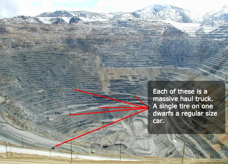 Bingham Canyon Mine Size With Haul Truck Comparison