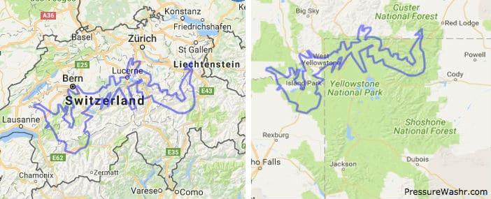 Grand Canyon Overlayed on Switzerland and Yellowstone
