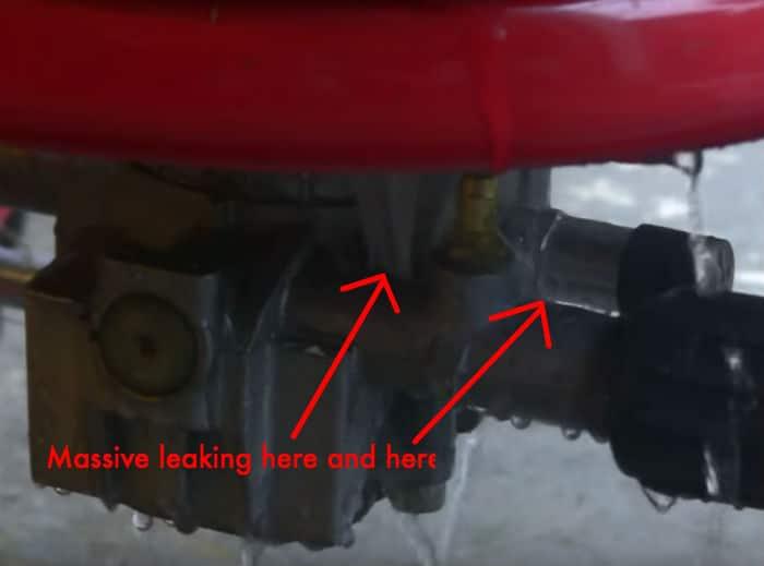 Used pressure washer pump leak