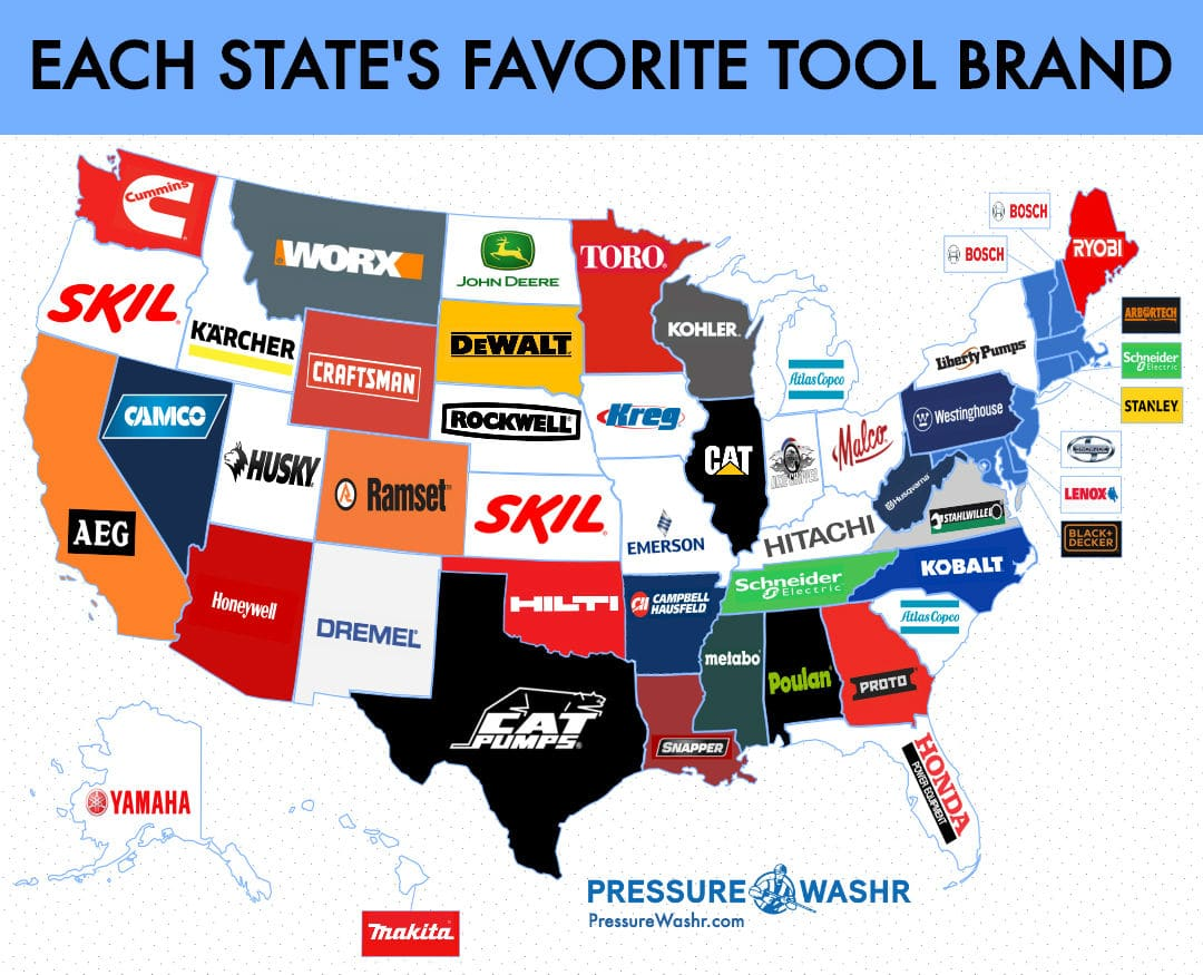 Each States Favorite Tool and Equipment Brand