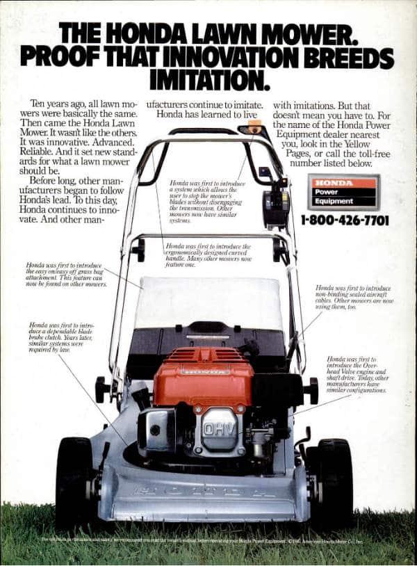 Honda lawn mower advert in popular mechanics
