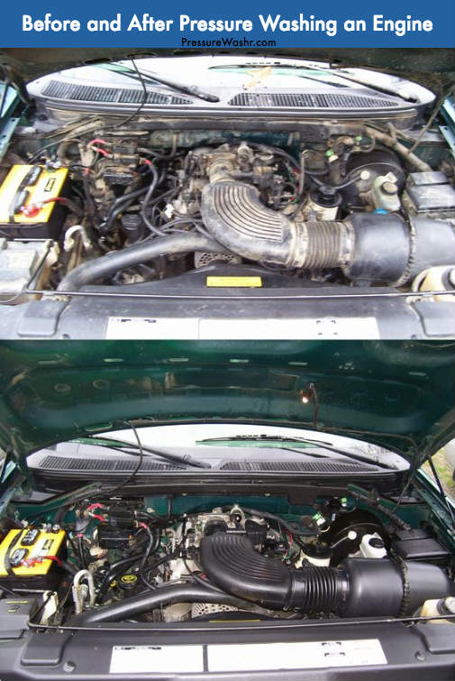 Before and after pressure washing an engine