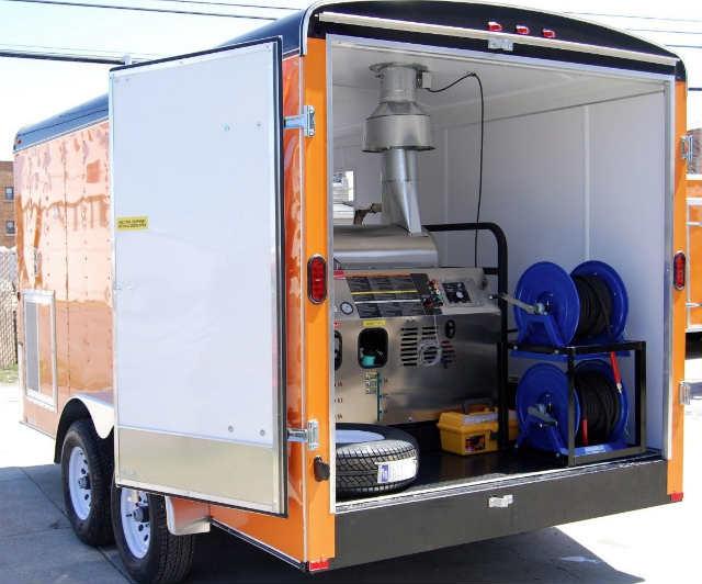 Fully enclosed pressure washer trailer setup