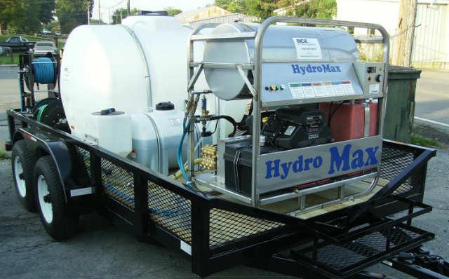 Hydromax pressure washer on trailer
