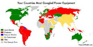 Most googled power equipment type pressurewashr map chart