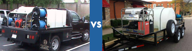 Pressure washer trailer vs truck mounted pros and cons