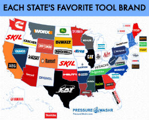 Pressurewashrcom map chart each states favorite tool brand