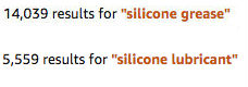 Results on amazon for silicone grease and lubricant