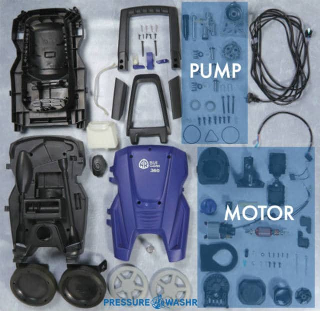 AR Electric Pressure Washer Showing Pump and Motor Parts
