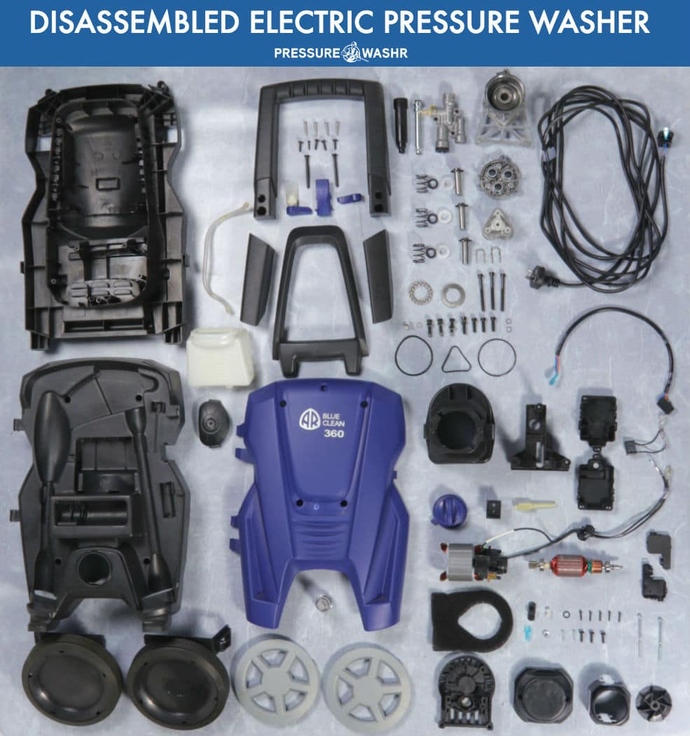 Disassembled AR Blue Clean Electric Pressure Washer With All its 144 Parts Organized Neatly