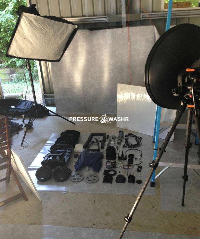Disassembled Pressure Washer Showing Photo Lights Setup