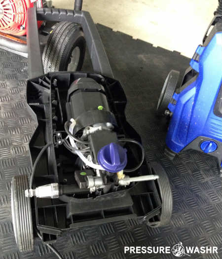 Electric Pressure Washer Open Showing Pump and Motor