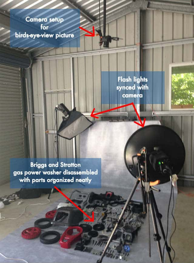 Briggs Disassembled Pressure Washer Camera and Lights Setup Labelled