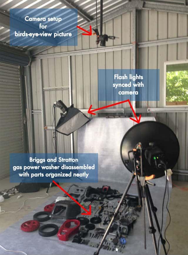 Briggs Disassembled Pressure Washer Camera and Lights Setup Labelled