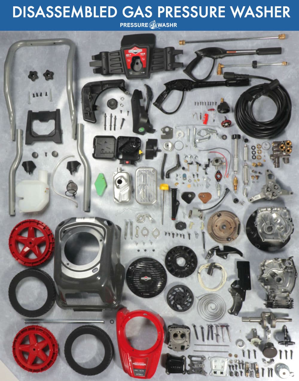 Briggs and Stratton Gas Power Washer Disassembled With Parts Organized Neatly