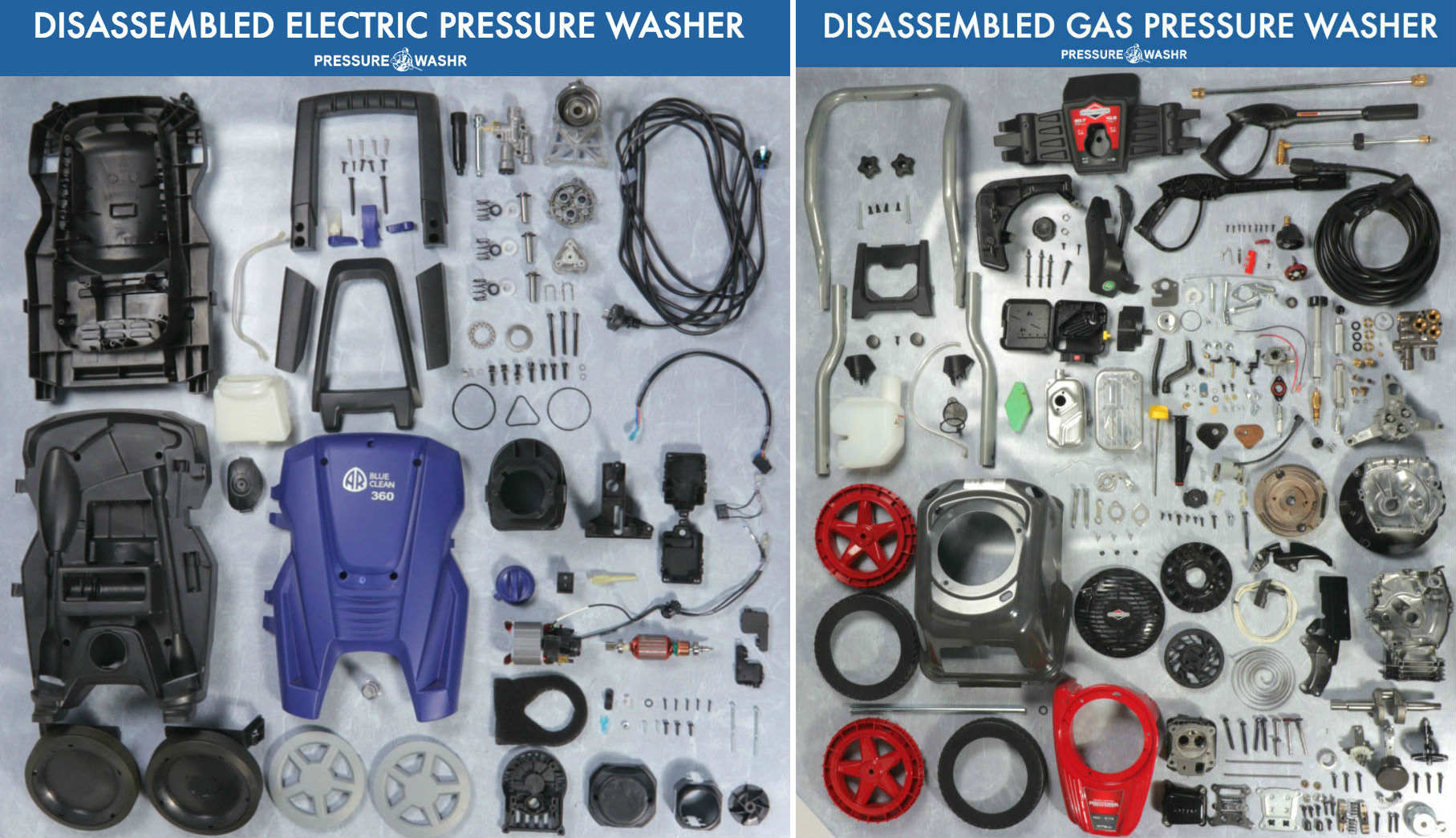 Comparing Disassembled Electric and Gas Pressure Washer