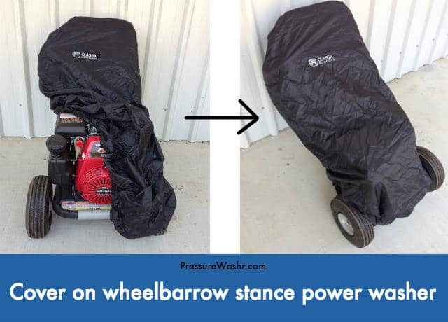 Cover on wheelbarrow stance power washer