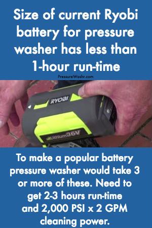 Ryobi battery size for pressure washer