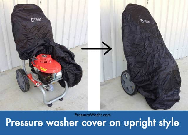 Upright style pressure washer with cover