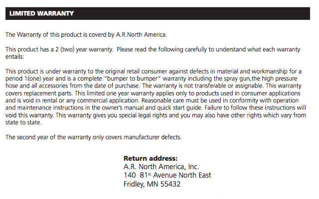 AR Blue Clean warranty details from User Manual