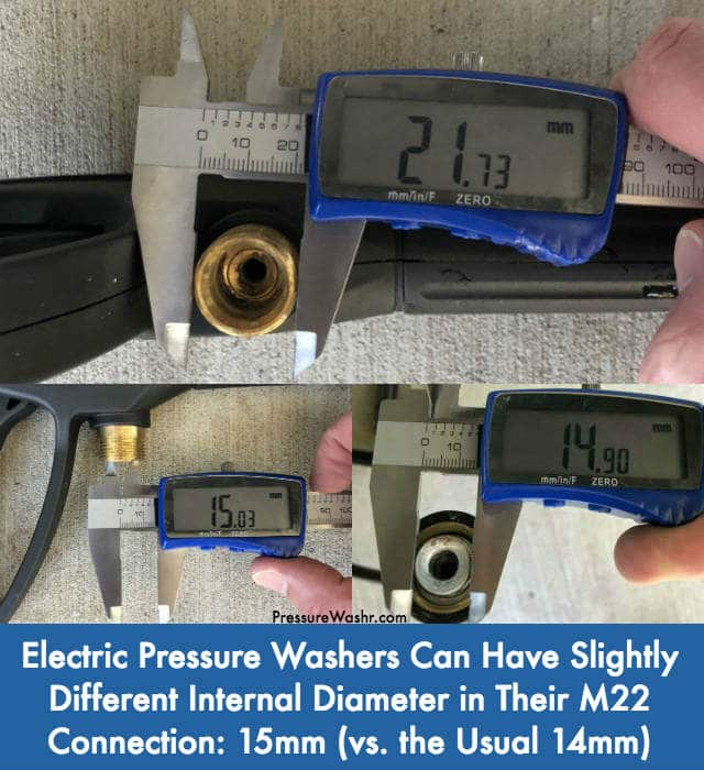 Electric Pressure Washer M22 Connection With 15mm Internal Diameter