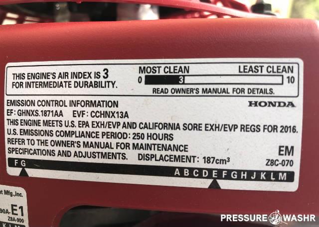 Honda Small Engine Emission Control Label