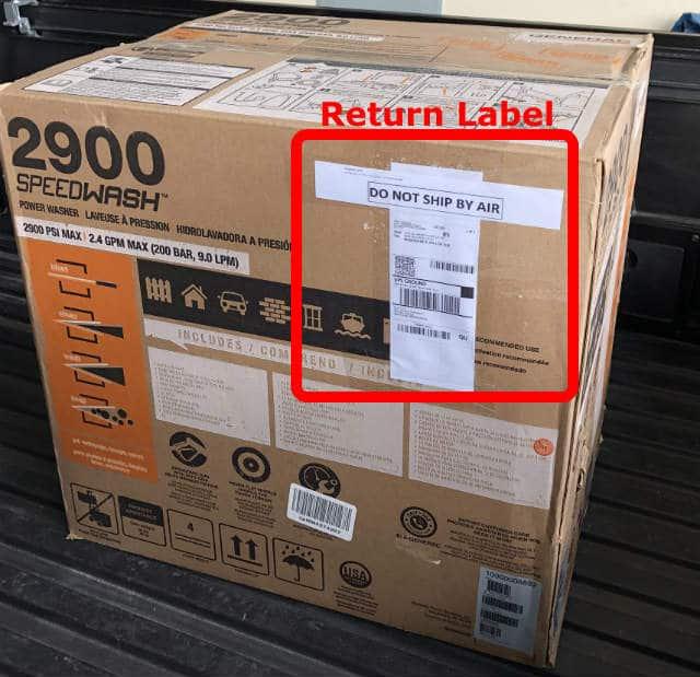 Pressure washer box return label Amazon