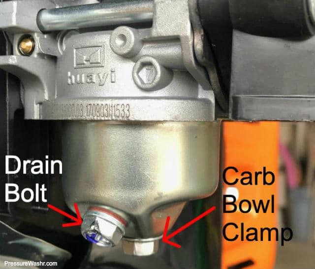 Carburetor on Generac Pressure Washer