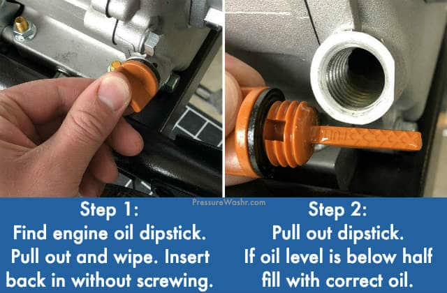 Pressure washer check engine oil level