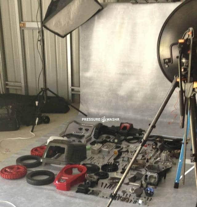 Disassembled Briggs gas pressure washer photo setup logo