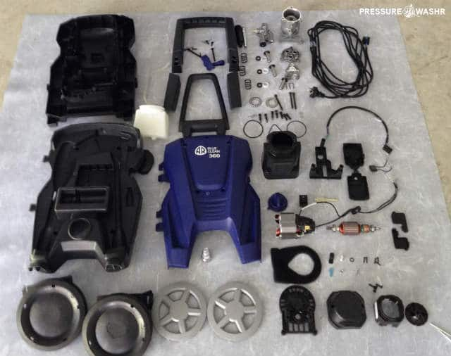 Disassembled electric AR Blue Clean pressure washer