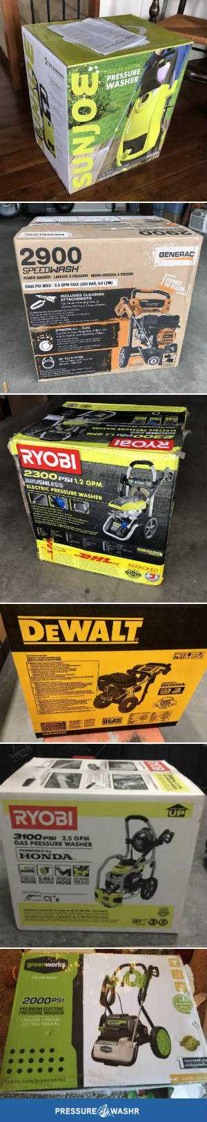 Pics of bought pressure washers in their boxes